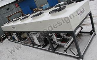 Холодильная установка Фригодизайн на двух винтовых компрессорах J&EHall с общей холодопроизводительностью 500 кВт для завода шампанских вин